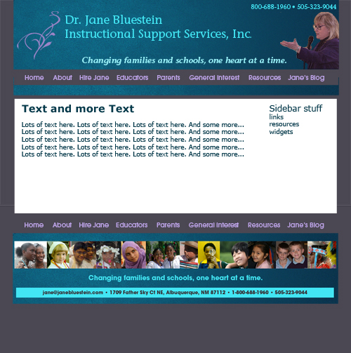 Initial design sketch for 2012 version of Dr. Bluestein's site
