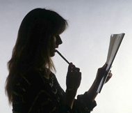 Woman reading an article