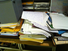 Pile of unsorted research for perfectionism book, early July, 2013.