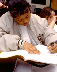 Girl taking a test